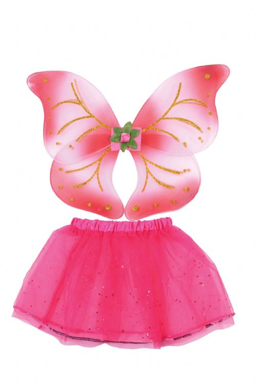 Fairy Wings + Tutu Set Pink Make-believe fairytale Pan Tinkerbell Fancy Dress